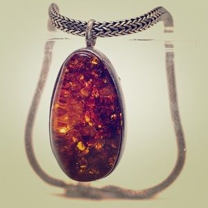 Amber Pendant on Konstantino Chain